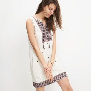 Madewell Dress Embroidered Suncoast Cream Shift 8